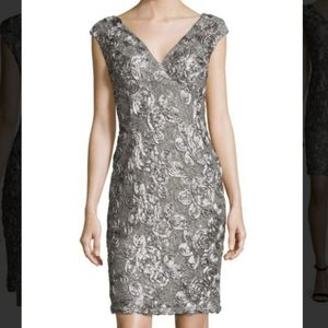 Marina Grey Lace and Sequin Cocktail Dress